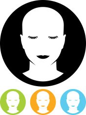 Vector woman head with closed eyes