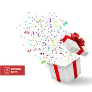 Open Gift and Confetti. Christmas Vector