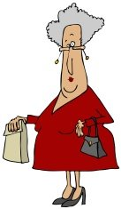 Old woman carrying a sack