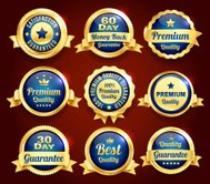 Golden Premium Quality Badges