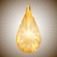 Vector precious yellow diamond pendant with gold setting