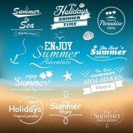 Vintage summer typography design with labels. Vectors