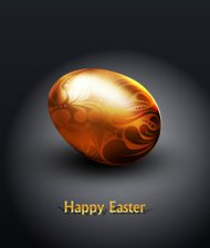 vector easter golden egg with ornament