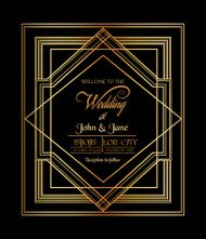 Wedding Invitation Card - Art Deco & Gatsby Style