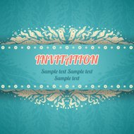 Beautiful floral invitation card in vintage style. Vector illust