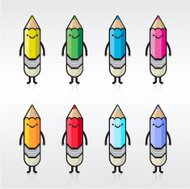 Group of colorful pencil icons
