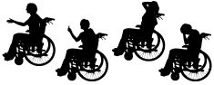Vector silhouettes of people in a wheelchair.