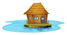 island with a small house