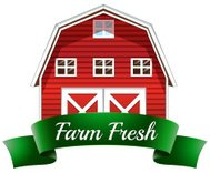 farm fresh label with red wooden house