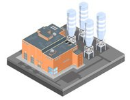 Isometric Manufacturing plant Factory