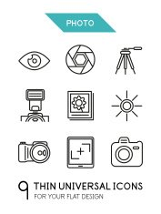 Collection of photo trendy thin line icons