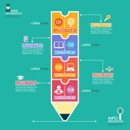 Education infographics background with abstract pencil
