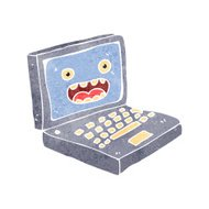 retro cartoon laptop