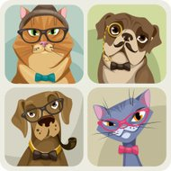 Four portraits of dogs and cat with hipster elements