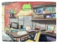 Freehand drawing  interior perspective of modern living room