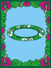 Hibiscus Flower border, Oval & rectangle