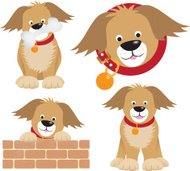 dog cartoon selection of positions