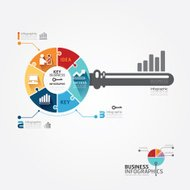 Infographic Template with key business jigsaw banner.