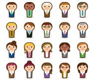 Smiling business people icons