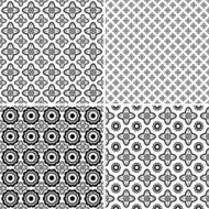 Set of seamless black and white patterns.