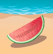 Slice of Watermelon on the Beach