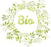 Word Bio in floral wreath with branches and leaves