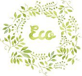 Word Eco in floral wreath with branches and leaves