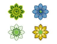 Four Vector Stylized Flowers.
