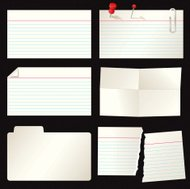 Set of Lined, Torn, Folded, Distressed and Blank Index Cards