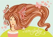 Spring girl with long beautiful hair and butterflies