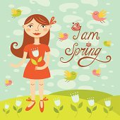 Spring girl with birds. Greeting card