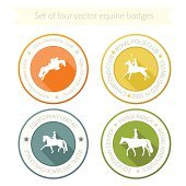 Set of four perfect equine badges
