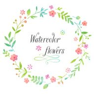 Watercolor floral wreath design