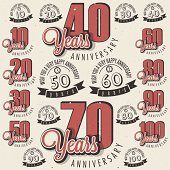 Retro Vintage style anniversary greeting card collection with calligraphic design