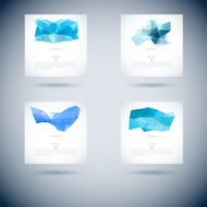 Set of Vector geometric blue backgrounds with triangles