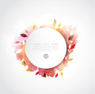 Blank circle paper with leaf and watercolor paint, vector illust