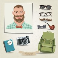 Icon set of hipster man with his accessories