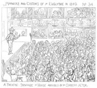 Laughing audience at a Victorian theatrical performance