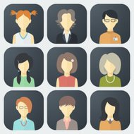 Female Faces Icons Set