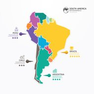 South america Map Infographic Template jigsaw concept banner. ve