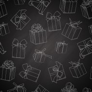 Seamless texture with  hand drawn gift boxes, bows and ribbons.