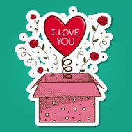 Present box with heart.