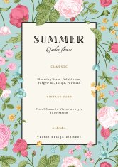 Summer vertical vector vintage card