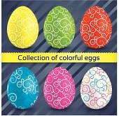 Happy easter colorful textured eggs (collection)
