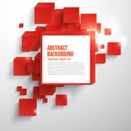 Vector  square. Abstract background card red.