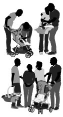 Parents with baby stroller