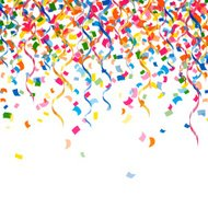 Vector Confetti and Curly Ribbons