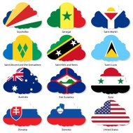 Set  Flags of world sovereign states in  form  clouds.