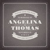 Wedding invitation card template vector vintage background
