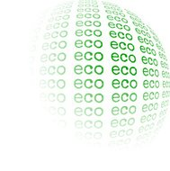 Eco - abstract ecological green word sphere on white